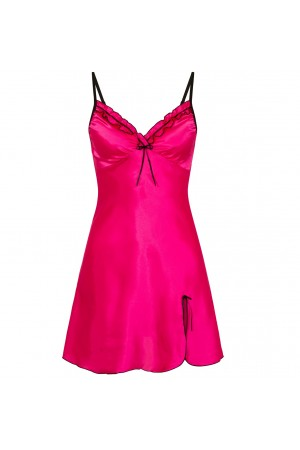 0502 Silky Satin Chemise With Sexy Side Split Hot Pink S - 5XL