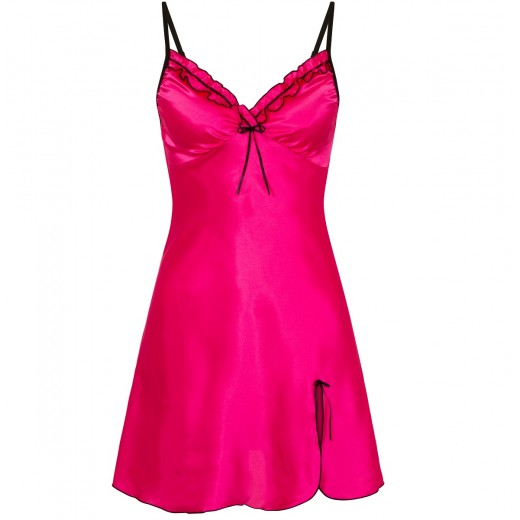 plus size-0502 Silky Satin Chemise With Sexy Side Split Hot Pink S - 5XL Babydolls-Nine X