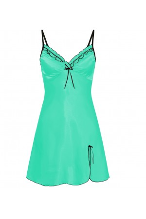 0502 Silky Satin Mint Chemise With Sexy Side Split  S - 5XL