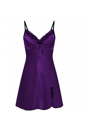 0502 Silky Satin Chemise With Sexy Side Split Purple  S - 5XL