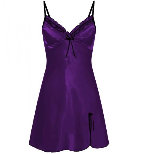 plus size-0502 Silky Satin Chemise With Sexy Side Split Purple  S - 5XL Babydolls-Nine X