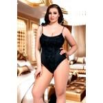 plus size-073 Lined Black Lace Bodysuit Plus Size S-8XL 8-28uk Bodies-Nine X