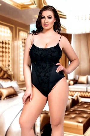 073 Lined Black Lace Bodysuit Plus Size S-8XL 8-28uk