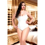 plus size-073 Lined White Lace Bodysuit Plus Size S-8XL 8-28uk Bodies-Nine X