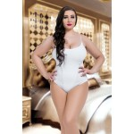 plus size-073 Lined Ivory Lace Bodysuit Plus Size S-8XL 8-28uk Bodies-Nine X