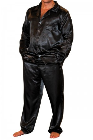 075 Black Mens Satin Pyjama Set Full Sleeve Pj's Top & Bottoms S-4XL