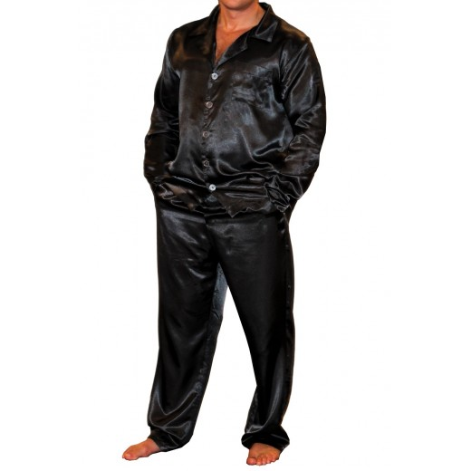 075 Black Mens Satin Pyjama Set Long Sleeve Nightwear S-4XL - Nine X