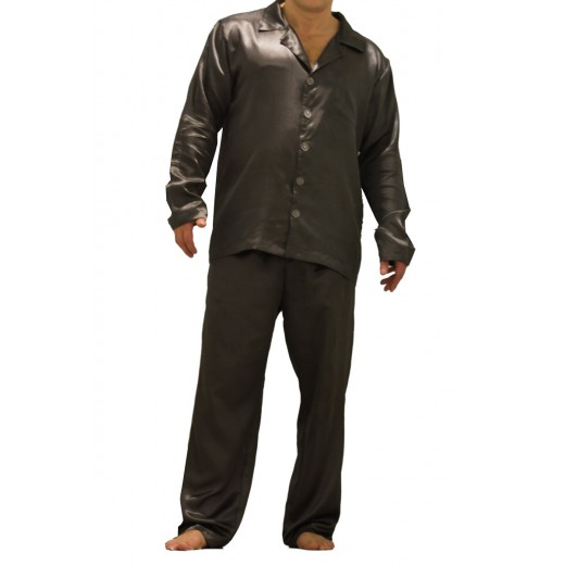 075 Charcoal  Mens Satin Pyjama Set Long Sleeve Nightwear S-4XL - Nine X