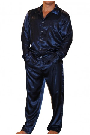 075 Navy Mens Satin Pyjama Set Full Sleeve Pj's Top & Bottoms S-4XL