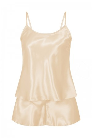 082 Plus Size Satin Cami Set S-6XL 8-24 Champagne