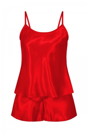 082 Plus Size Satin Cami Set S-6XL 8-24 Red
