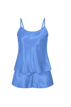 082 Plus Size Satin Cami Set S-6XL 8-24 Light Blue