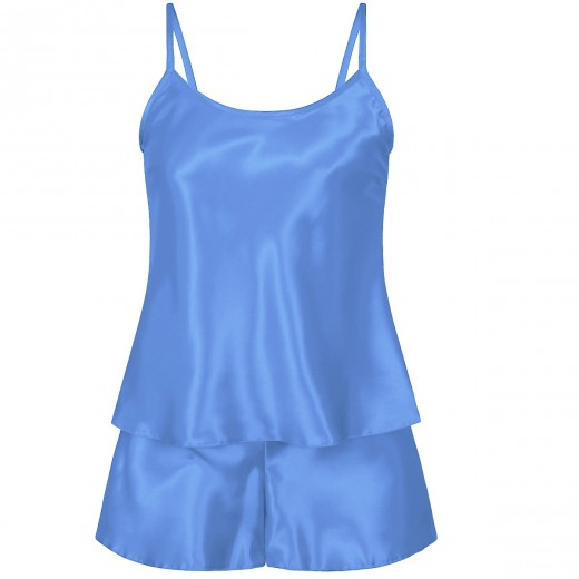 plus size-082 Plus Size Satin Cami Set S-6XL 8-24 Light Blue Cami Sets-Nine X