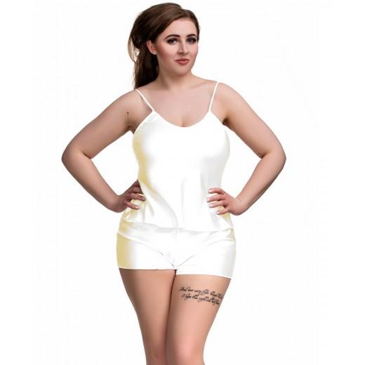 plus size-082 Plus Size Satin Cami Set S-6XL 8-24 Ivory Cami Sets-Nine X