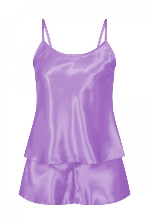 082 Plus Size Satin Cami Set S-6XL 8-24 Lilac