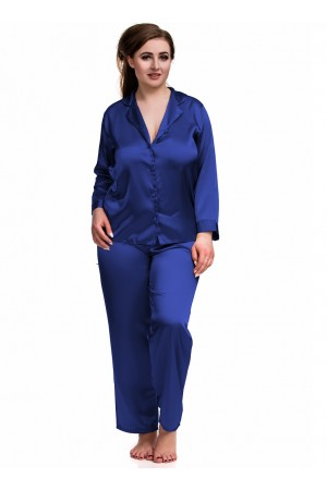 084 Blue Plus Size Satin Pyjama Set Long Sleeve Nightwear S-6XL