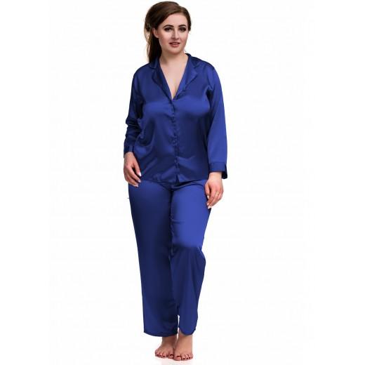 plus size-084 Blue Plus Size Satin Pyjama Set Long Sleeve Nightwear S-6XL Cami Sets-Nine X