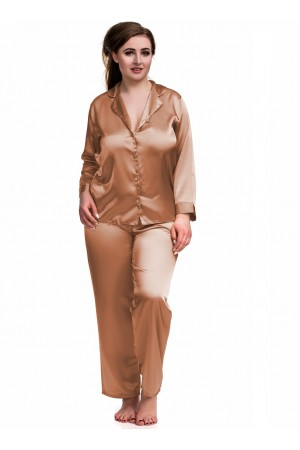 084 Brown Plus Size Satin Pyjama Set Long Sleeve Nightwear S-6XL
