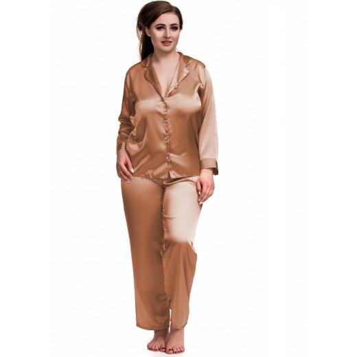 plus size-084 Brown Plus Size Satin Pyjama Set Long Sleeve Nightwear S-6XL Cami Sets-Nine X