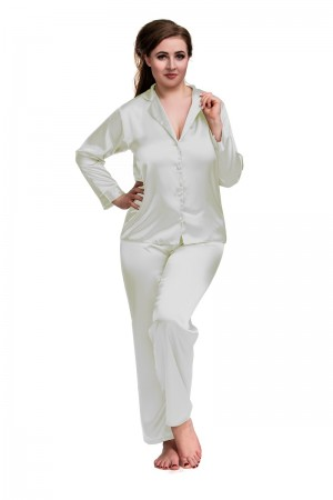 084 OLD SHADE WHITE Plus Size Satin Pyjama Set Long Sleeve Nightwear S-6XL OLD SHADE