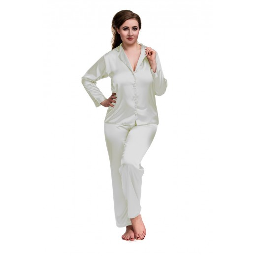 plus size-084 Ivory Plus Size Satin Pyjama Set Long Sleeve Nightwear S-6XL New Arrivals-Nine X