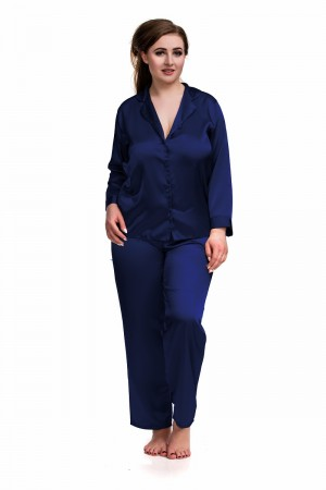 084 Navy Plus Size Satin Pyjama Set Long Sleeve Nightwear S-6XL