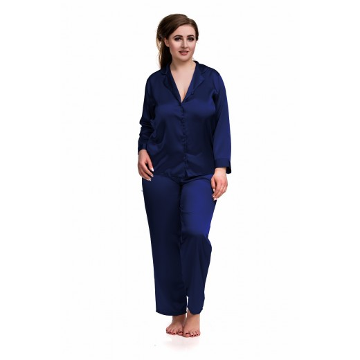 plus size-084 Navy Plus Size Satin Pyjama Set Long Sleeve Nightwear S-6XL Cami Sets-Nine X