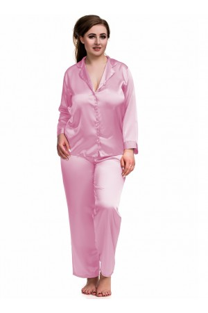 084 Baby Pink Plus Size Satin Pyjama Set Long Sleeve Nightwear S-6XL