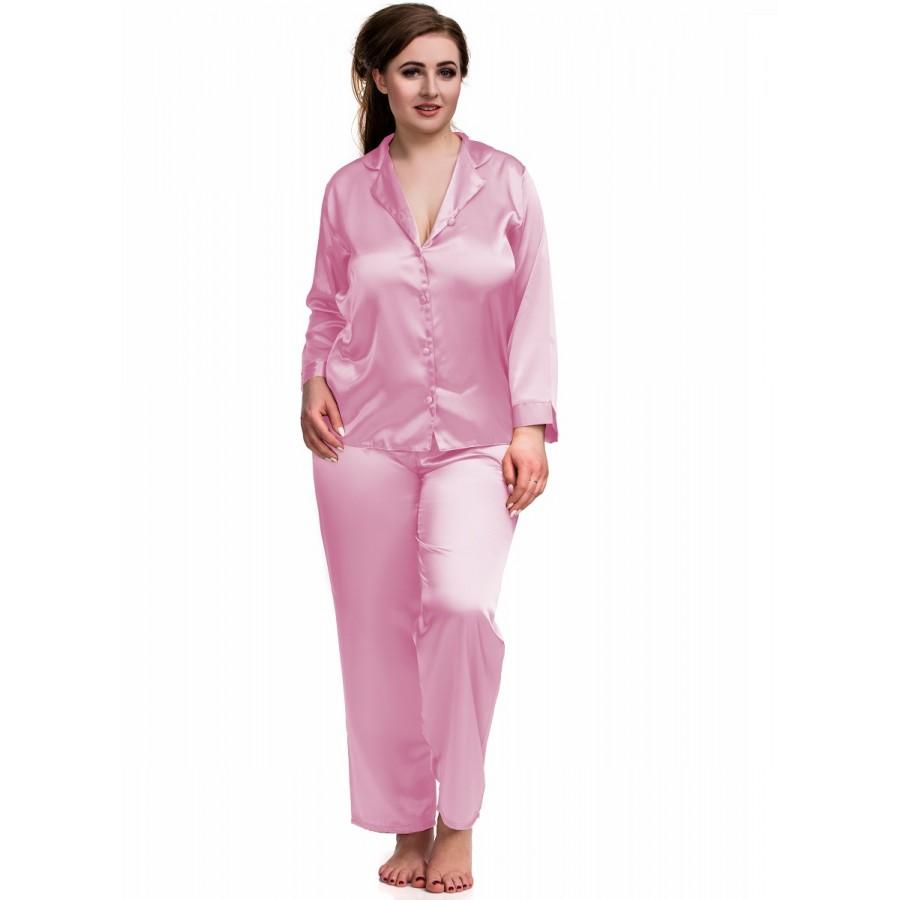 916f31562ae6a 084 Baby Pink Plus Size Satin Pyjama Set Long Sleeve Nightwear S-6XL Cami  Sets