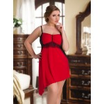 plus size-093 Red Venecia & Mesh Babydoll Size M-7XL 10-26UK Babydolls-Nine X