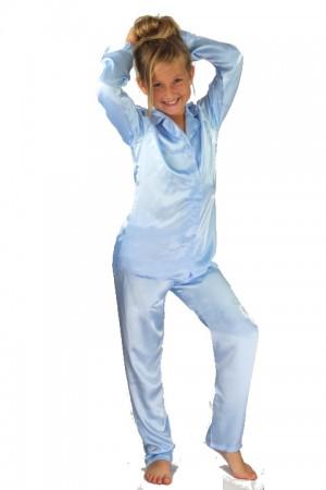107 Light Blue Boys Girls Kids Satin Long Sleeve Pyjamas pj's  Nightwear