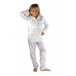 107 White Boys Girls Kids Satin Long Sleeve Pyjamas pj's  Nightwear