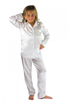 107 White Boys Girls Kids Satin Long Sleeve Pyjamas pj's  Nightwear