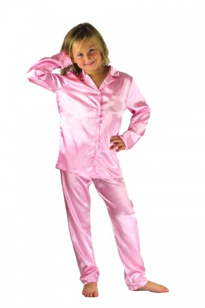 107 Baby Pink Boys Girls Kids Satin Long Sleeve Pyjamas pj's  Nightwear