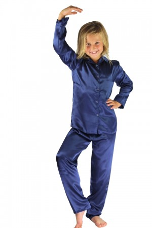 107 Navy Boys Girls Kids Satin Long Sleeve Pyjamas pj's  Nightwear