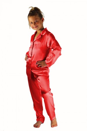 107 Red Boys Girls Kids Satin Long Sleeve Pyjamas pj's  Nightwear