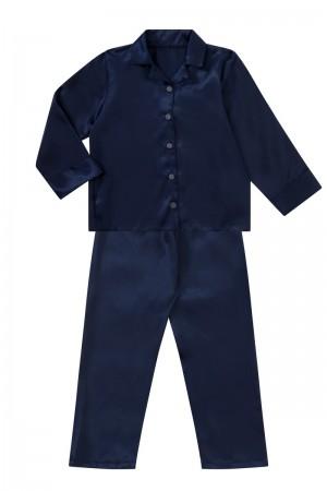 107 Navy Boys Girls Kids Satin Long Sleeve Pyjamas pj's  Nightwear