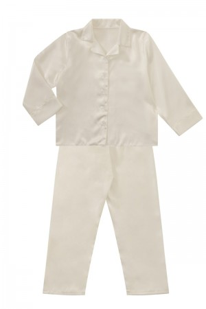 107 Ivory Boys Girls Kids Satin Long Sleeve Pyjamas pj's  Nightwear