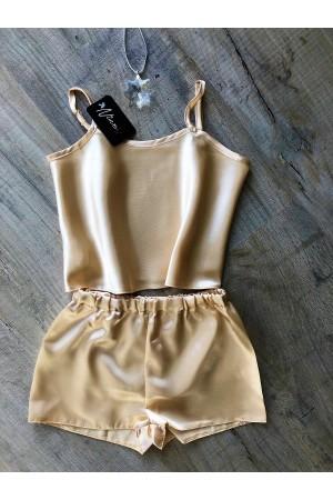 110 Champagne  Girls  Satin Cami Set pj's  Nightwear
