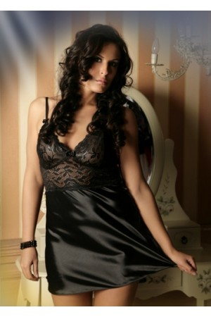 1611 Sexy black Lace Chemise With Satin Skirt M-6XL