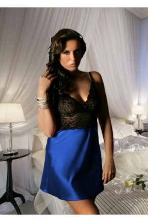 1611 Sexy Lace Chemise With Blue Satin Skirt M-6XL