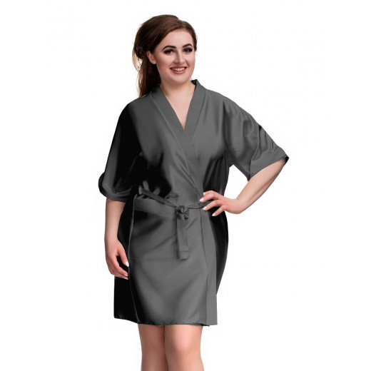 plus size-2106 Soft Satin Dressing Gown Charcoal S - 7XL Dressing Gowns-Nine X