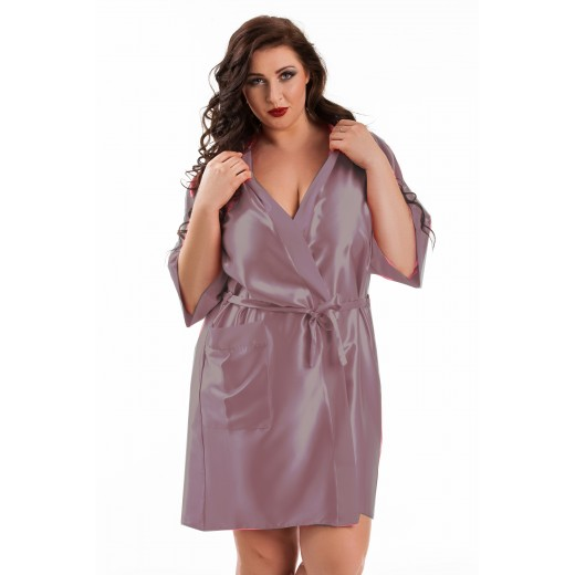 plus size-2106 Soft Satin Dressing Gown Dusty Rose  S - 7XL Dressing Gowns-Nine X