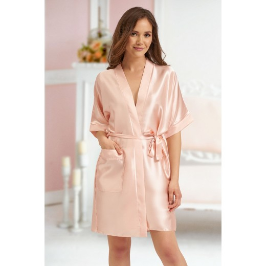 plus size-2106 Soft Satin Dressing Gown Nude S - 7XL Dressing Gowns-Nine X