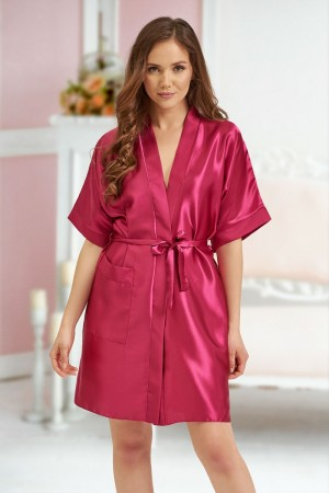 2106 Soft Satin Dressing Gown Burgundy S - 7XL