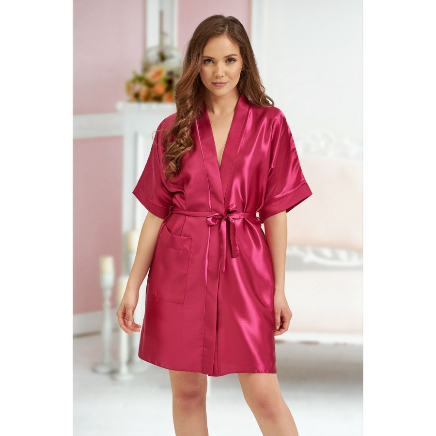 Satin Dressing Gown: 2106 Soft Satin Dressing Gown Burgundy S