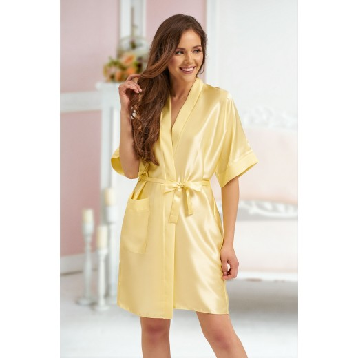 plus size-2106 Soft Satin Dressing Gown Yellow S - 7XL Dressing Gowns-Nine X