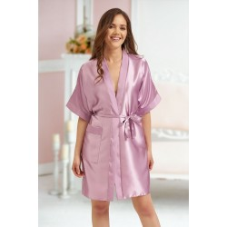 2106 Soft Satin Dressing Gown Dusty Rose S - 7XL