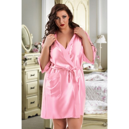 plus size-2106 Soft Satin Dressing Gown Baby Pink S - 7XL Dressing Gowns-Nine X