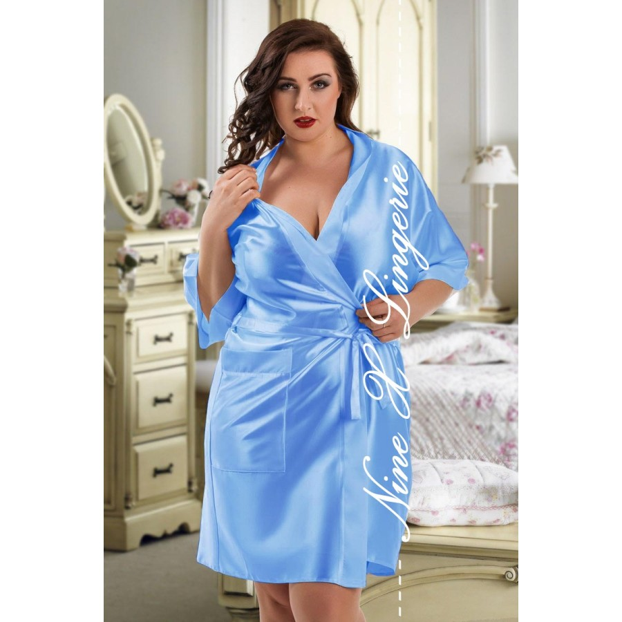 2106 Soft Satin Dressing Gown Light Blue S